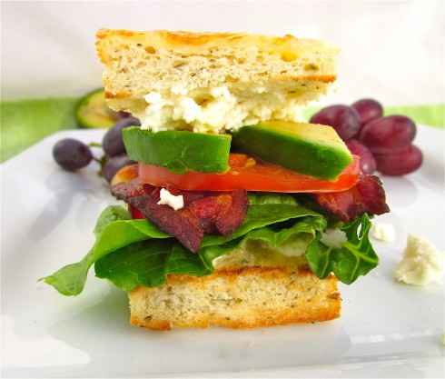 blt sandwich with avocado on focaccia bread